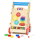 Meen Children's Walker, Wooden Boutique Multi-Function Walker Can Lift and Lower Speed Cognitive Cognitive Pairing Educational Toys