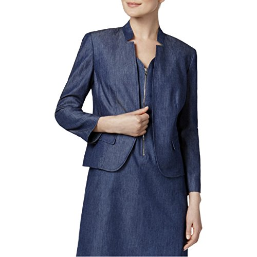 Nine West Womens Star Collar Cuff Sleeves Casual Blazer Navy 8 by Nine West
