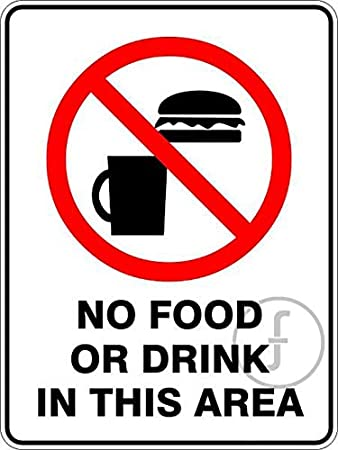 Fingerz Pack Of 2 No Food Or Drink In This Area Sticker Sign Wall Office Home Multi Colored High Resolution Image Decal 6 X 8 Inch Amazon In Office Products
