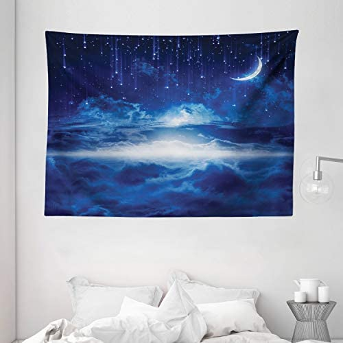 Ambesonne Fantasy Tapestry, Night Sky with Moon Falling Stars Clouds Horizon Mysterious Space Art, Wide Wall Hanging for Bedroom Living Room Dorm, 80 X 60 , Dark Blue