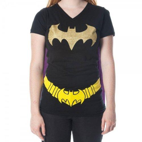 Batman+Shirts Products : Batman Glittered Logo Juniors Black V-Neck Cape T-Shirt
