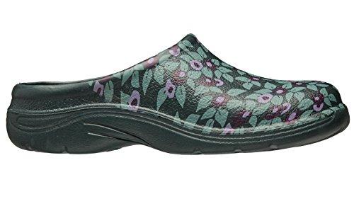 Mujeres/Damas Calzado Jardinería Zuecos Ciruela Verde Estampado Floral Con Espalda Abierta, Varios Tamaños
