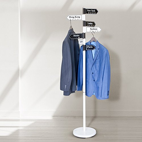 Tatkraft Karta Clothes Hanger Stand, Steel, Black and White, 43X28X173 cm