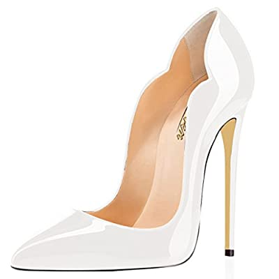 MODEMOVEN Women's White Sexy Point Toe High Heels,Patent Leather Pumps,Wedding Dress Shoes,Cute Evening Stilettos - 8.5 M US