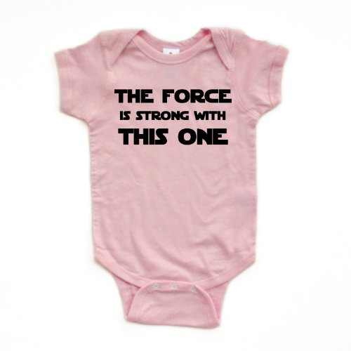 Cute Funny Nerd Geek Humor The Force is Strong With this One Soft Baby Bodysuit,Newborn,Pink