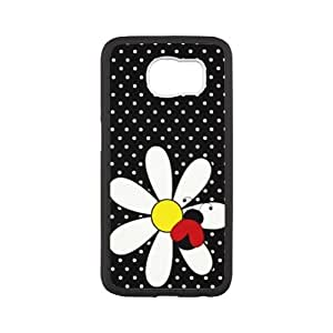 HOT phone cases, Lady Bug and Daisy Pattern black plastic and TPU case For SamSung Galaxy S6 at Run horse store