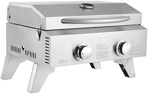 Tabletop Gas Grill 2-Burner Stainless Steel 2-Burner Gas Grill 2 Independently Adjustable Burners Portable Tabletop 20,000 BTU BBQ Grid with Buckles Foldable Legs for Outdoor Camping Picnic, Silver