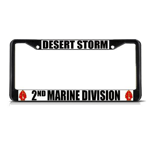 desert-storm-2nd-marine-division-black-metal-license-plate-frame-tag-border