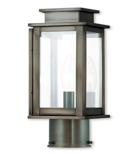 Outdoor Post 1 Light with Vintage Pewter Clear Glass Candelabra Base 11 inch 60 Watts - World of Crystal ()