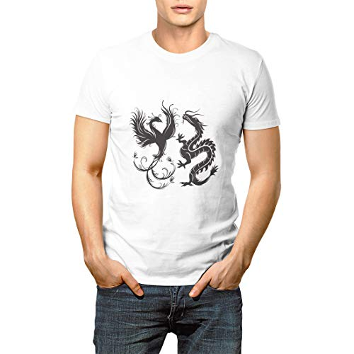 Silhouette of Phoenix Bird and Dragon Symbol Balance That Men's Short Sleeve T-Shirt