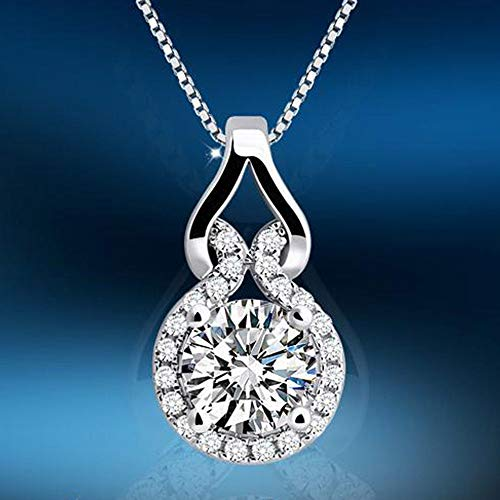 Women Fashion Elegant Silver Zircon Crystal Gourd Pendant Charm Necklace Jewelry ()