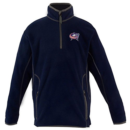 (Columbus Blue Jackets YOUTH Unisex Ice Polar Fleece Pullover (Team Color: Navy))