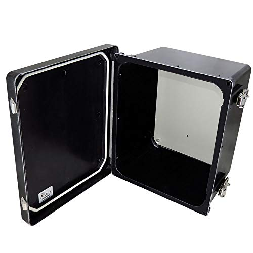 Altelix 10x8x6 Stealth Black FRP Fiberglass NEMA 4X Box Weatherproof Enclosure with Aluminum Equipment Mounting Plate, Hinged Lid & Stainless Steel Latches