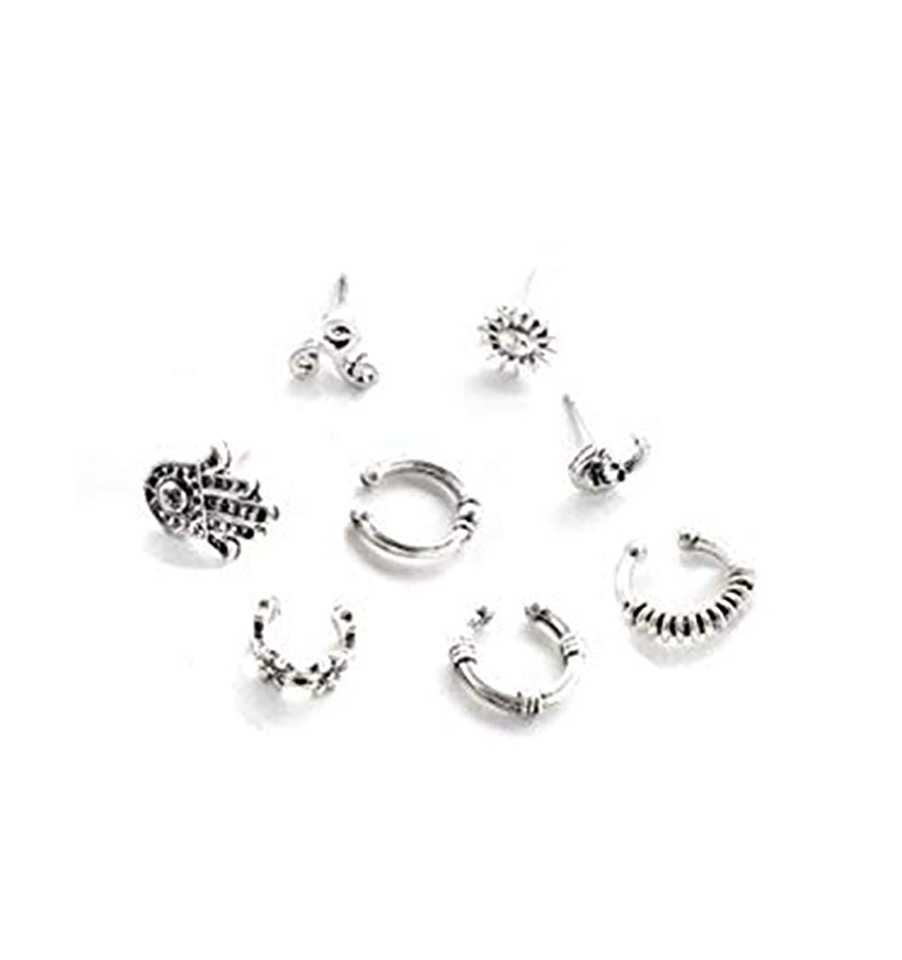 32fb7b79840a7 Cyntan Cuff Earrings Set Vintage Punk Stud Earrings Set Boho Owl Fatima  Carved Ear Jewelry For Women