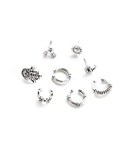 fdc01b565 Amazon.com: cyntan Vintage Bohemian Sun Moon Hand of Fatima Charm Ear Studs  Carved Ear Cuffs Earring Set 8 Pcs/Set: Toys & Games