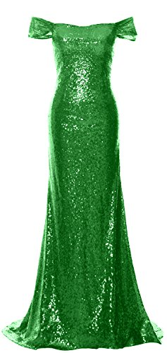 MACloth Women Off the Shoulder Prom Dress Mermaid Sequin Formal Evening Gown Verde