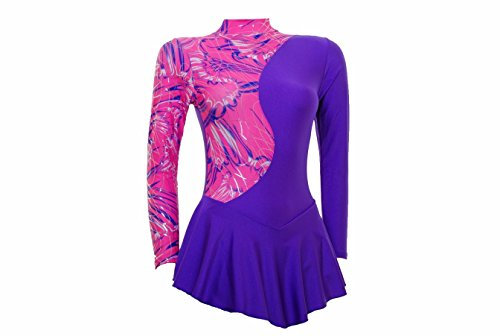 Lycra Majorette Long S099b Pink Multi Ice Print Foil With coloured Silver Shiny Hologram Purple Dance Multicoloured and Skating Sleeve Dress Wholesale fpnSUwqWx