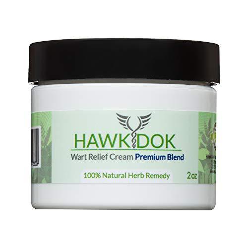 Hawk Dok Genital Wart Relief Cream, Herbal Natural Warts Relief Premium Blend for Men and Women - 2oz