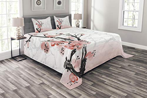 Lunarable Floral Bedspread Set Queen Size, Japanese Cherry Blossom Sakura Tree Branch Soft Pastel Watercolor Print, Decorative Quilted 3 Piece Coverlet Set with 2 Pillow Shams, Pink Coral