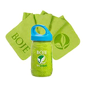 BOJE Cooling Chill Towel - Innovative Material Cools As Moisture Evaporates! Available in BLUE, LIME GREEN or PINK! New Design CLIP CAPIncludes Bonus e-book Package!!
