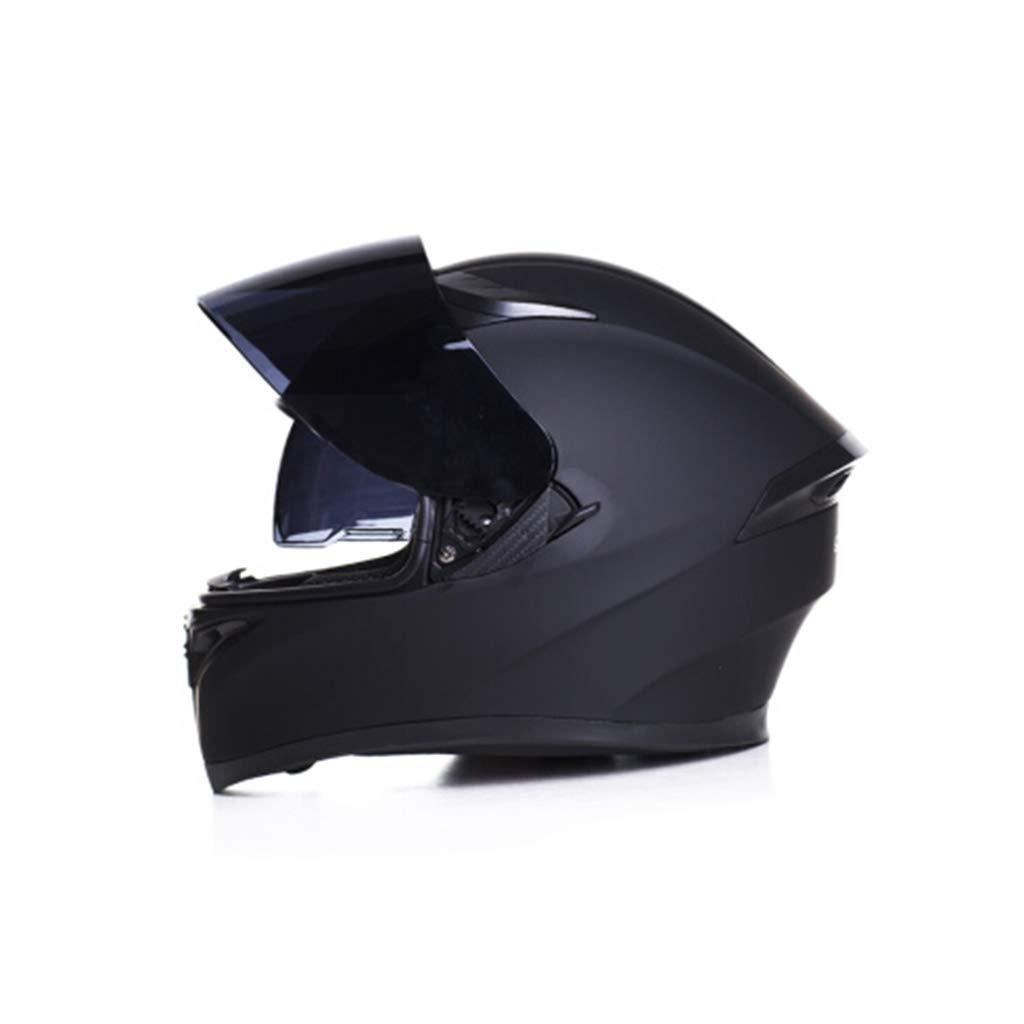 オートバイのヘルメット男性大人のフルフェイスヘルメット女性四季ユニバーサル紅茶防曇二重レンズダムブラック頭囲55-63cmに適して (色 : Black tea lens, サイズ さいず : XXl 63-64cm) XXl 63-64cm Black tea lens B07KVGXZN7