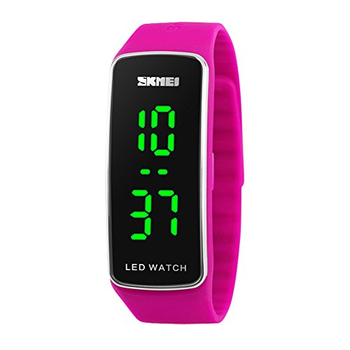 Kortusa LED Sport Digital Wrist Watch 50M Waterproof for Kids Boys Girls Men Women Silicone Bracelet Watch Rose Red