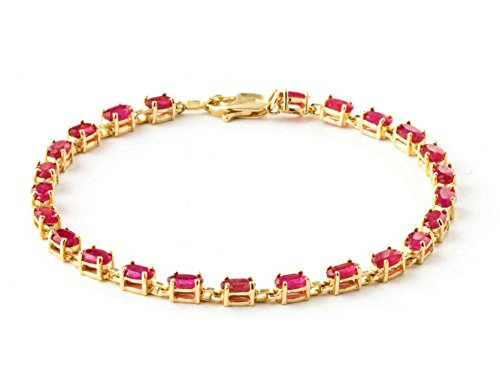 (14k Solid Yellow Gold Tennis Bracelet with 8 Carat (CTW) Natural Red Ruby -3556Y (8.5))