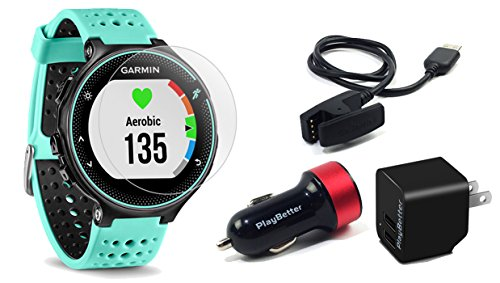 Garmin Forerunner 235 (Frost Blue) with Screen Protectors & Charging Adapters BUNDLE | Includes On-Wrist HR Running GPS Watch, Tempered Glass Screen Protectors & PlayBetter USB Car/Wall Adapters