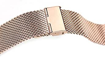For Smart Watch 42mm - Replacement Stainless Steel Buckle Watch Band with Axel Adapters - Rose Gold