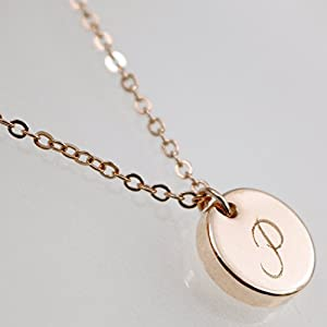 16K Initial Disc Necklace - Dainty Personalized Thick Gold Silver Rose Gold Circle Pendant Plate Delicate Initial Disc Charms Necklace Diamond Engraving