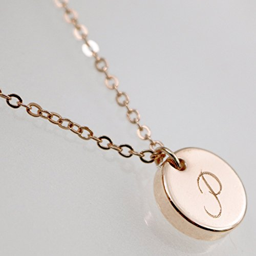 Personalized Circle Disc (16K Initial Disc Necklace - Dainty Personalized thick Gold, Silver Rose Gold Circle Pendant Delicate Initial Disc Charms Necklace Machine Engraving)