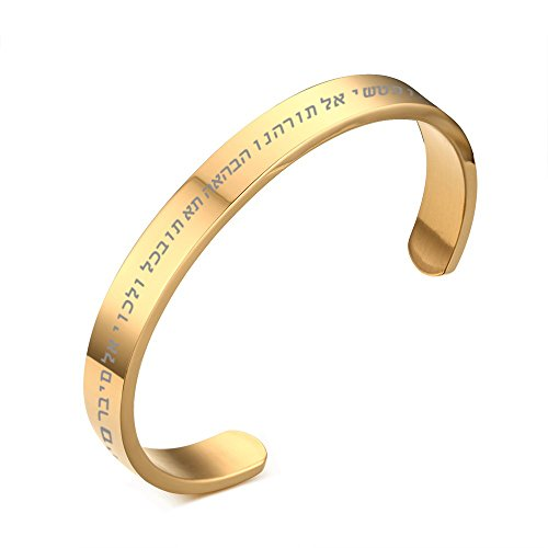 VNOX Stainless Steel Jewish Hebrew Bible Scripture Faith Cuff Bangle Bracelet for Men Women,Gold Plated
