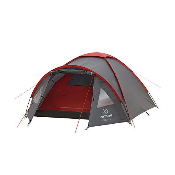 41uO ff2oFL JUSTCAMP Scott Campingzelt mit Vorraum, Iglu-Zelt für 3 od. 4 Personen (doppelwandig), Kuppelzelt