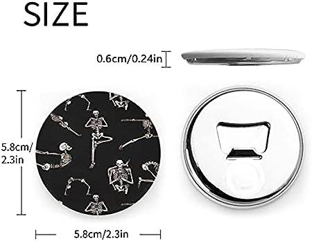 Esqueletos Yoga Abrebotellas redondos / Imanes de nevera Sacacorchos de acero inoxidable Etiqueta magnética 2 piezas