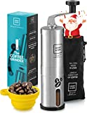 Manual Coffee Grinder Set with Adjustable Conical Burr-Stainless Steel Hand Coffee Mill
