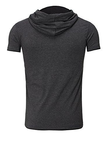 Estiramiento Gris Camisa Manga Akito Capucha Corta Bordado Tanaka Camiseta Hombre Antracita Hombre Negro BwOqxqYIfn