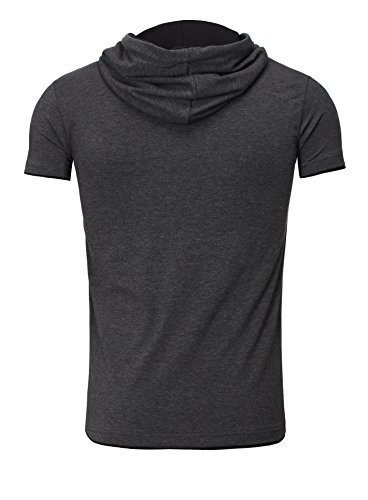 Manga Tanaka Camisa Estiramiento Bordado Camiseta Negro Capucha Antracita Akito Corta Hombre Gris Hombre AqTz1xwd