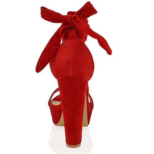 Alla Party GLAM Zeppa Scarpe Alto Lacci Pelle Scamosciata Caviglia Numeri da Cravatta Tacco Donna ESSEX Largo con a Donna Aperto Rosso 6B4PW6qI