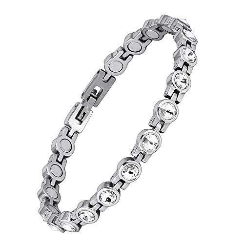 - Magnetic Bracelet for Women,Beauty Therapy Titanium Steel Magnetic Bracelets Pain Relief Arthritis Bracelets Magnetic Clasp Women Free Link Removal Tool (White) ...