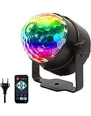 MOPOIN MOPOIN discobal LED party lamp, muziekgestuurd 3W RGB spraakgeactiveerd kristal Magic Ball podiumlicht met afstandsbediening 360° draaibaar partylicht voor KTV Party Kerstmis kinderkamer