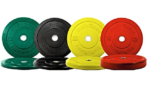 New 190 Lbs Color Olympic Bumper Plates Weight Plates Crossfit Training Fitness Exercise Weightlifting Workout Onefitwonder -Pair of 10 / 15 / 25 / 45 Lbs Plates- Amazing Deal