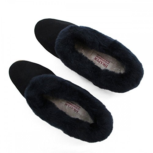 JANETTE Blue Ladies Navy Slipper Drapers Suede vnqY1RZwCY
