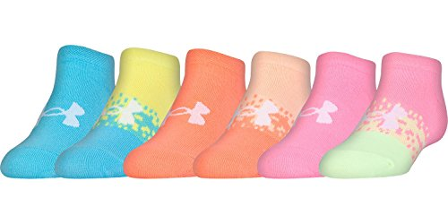 Under Armour Girls Essential No Show Socks (6 Pack) (Youth Large, Pale Moon (U328) / Assorted) by Under Armour