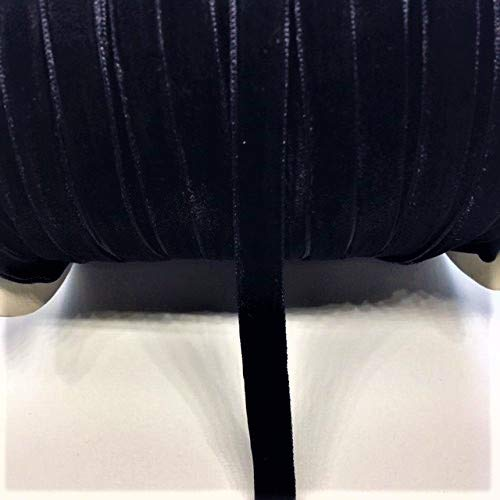 1/4'' Velvet Ribbon Single Face Selling Per 10 Yards Available in Off White Black and Burgundy (Black) Double Face 1/4' Ribbon