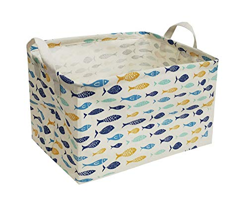 ESSME Rectangular Fabric Storage Box,Collapsible Storage Basket Bins Organizer with Handles for Kids Room,Shelf Basket,Toy Organizer(Fish)