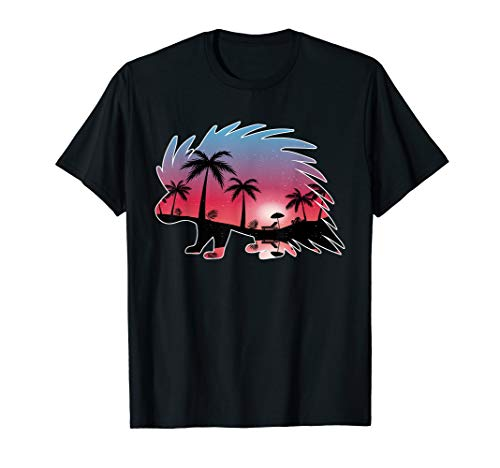 Porcupine Beautiful Sunset Beach Palm Tree T Shirt Gifts (Porcupine Tree T Shirt)