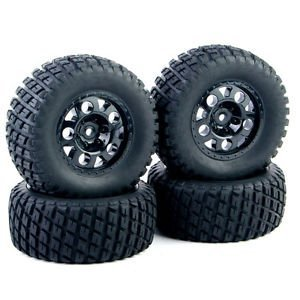 4 PCS RC 1:10 Short Course Truck Tires Set Tyre Wheel Rim For TRAXXAS SlASH HPI