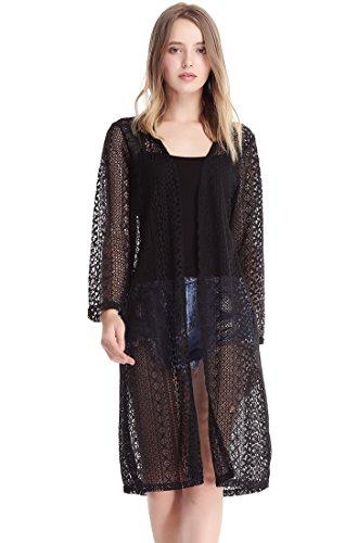 MissShorthair Womens Fashion Lace Crochet Open Front Cardigan Kimono Blouse Tops with Tassels (2 Black) from MissShorthair
