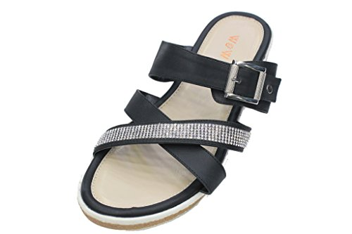 W&W Women Ladies Evening Heel Sandals Prom Party Wedding Shoes (SAN 3443) Black