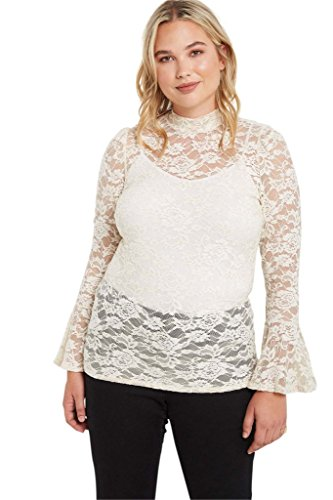 ock Neck Long Sleeve Lace Glitter Ruffled Plus Size Blouse Top USA Ivory 3XL (Nylon Ruffled Blouse)